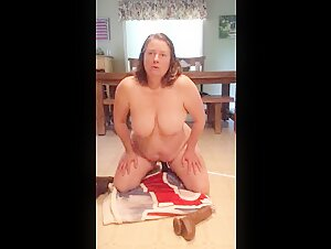 BBW mom with hairy pussy tries a few black dildos and cums
