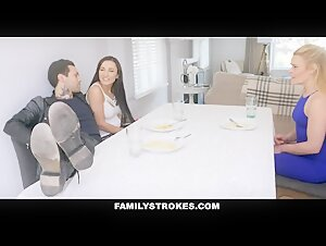 Family Strokes - Stroking And Sucking My BFs Cock in front of my Stepmom