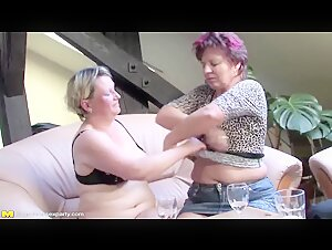Crazy hot group sex with 3 moms and 1 not their son
