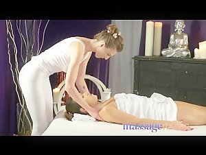 Massage Rooms Big tits lesbian gives Dutch girl oily massage