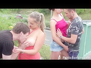 SHOCKING PUBLIC orgy group sex with big tits Part 2